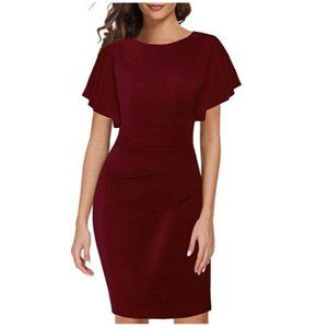 Casual Ruffled Sleeve Cocktail Party Pencil Dress